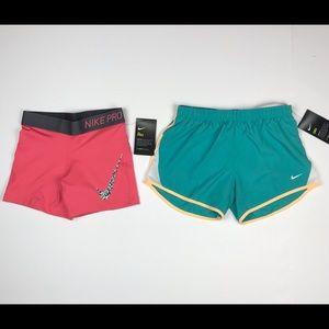 2 Nike Girls Training Running Shorts Size M